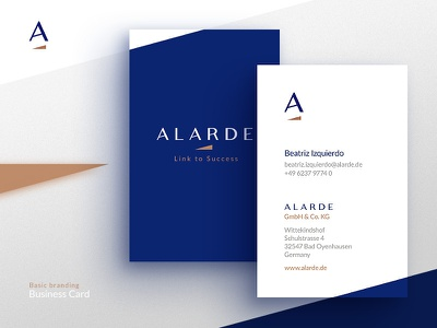 Alarde — Business Card homo faber visual identity logo corporate identity brand ci copper cobalt business card branding