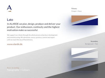 Alarde — Typography + Colours visual identity colours homo faber corporate identity copper cobalt ci typography branding brand