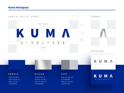 Kuma Aerospace silver cobalt typography logo layout identity ci branding