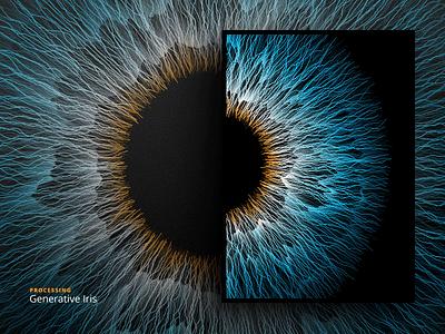 Generative Iris texture artificial computation eye processing iris generative colorfull code