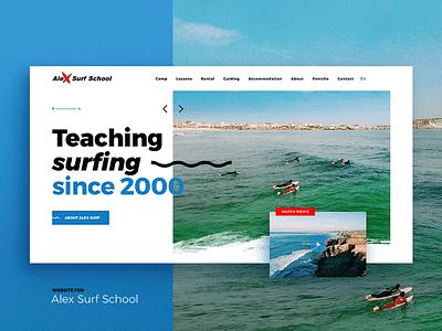 Alex Surf School montserrat web desktop ui sketch homo faber landing website surfing
