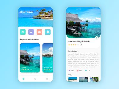 Travel App app design ui