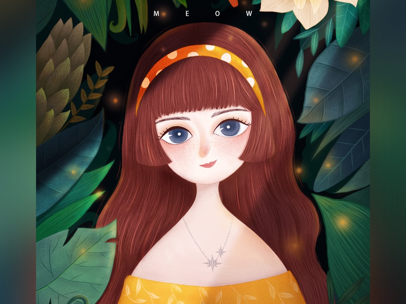 Princess in the Forest green light forest plant girl illustration