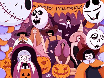 Happy Halloween halloween party girl coloful halloween illustration