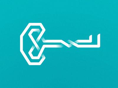 Celtic Key Icon vector path lock unlock teal logo icon minimal key knot celtic