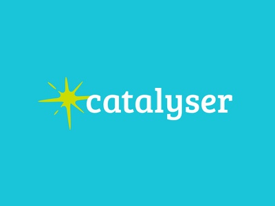 Catalyser logo spark bright neon design logo