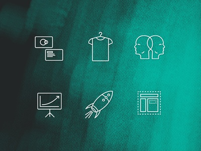 Sauricons - Design Agency Icons rocket ppt brainstorm t-shirt card business agency design icons icon theysaurus sauricons