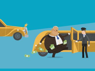Fat Feline 2016 Report - Cover Illustration money funds banks finance editorial report funny cat illustration
