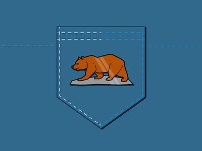 California Bear Lapel Pin flat california pin lapel bear illustration