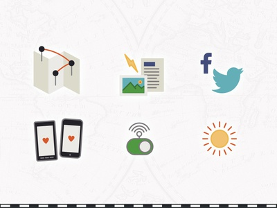 Wandertrace icons wifi phone text note photo map share record journal travel icon icons