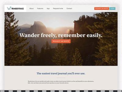 Wandertrace landing page remember wander explore website page landing ui journal travel