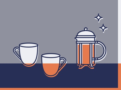 Home Icons - French Press & Mugs cafe kitchen mug coffee simple living home homewares illustration icon monoline