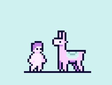 Cotton Candy Pixel Llama