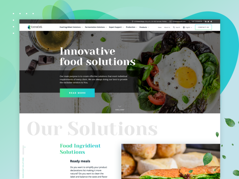 Innovative Food Solutions typography ux ui solutions services restaurant cuisine dish tasteful yummy menu delicious food tasty products ingredients web website recipes food cooking cook