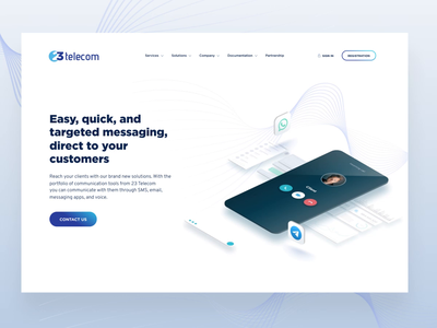 Telecom Company Website Design messaging mobile app messaging email sms communication technology services delivery internet messengers homepage telecom telecommunications business product design corporate branding corporate identity web design website