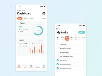 Doit Mobile App dashboad analytics productivity todolist calendar task list task manager tasks list checklist ios to-do planning management to do list app ux task task management to do app