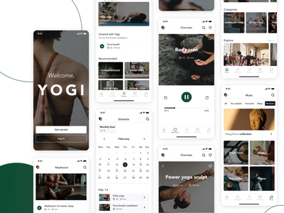 Yoga app ios interface workout gym fitness coach wellness meditation app medicine yoga