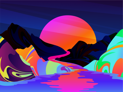 Dream about painted mountains of Arizona desert wasabikarate luxery reflection vibrant mood 2019 trend neon nature painting drawing artwork sunset art vector landscape colors gradients illustration