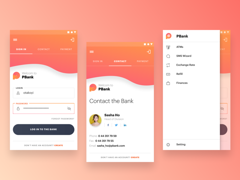 Online Banking Mobile App payment sign in ui 2020 finance settings menu contact sign in android app bank app typography trend color mobile concept simple ux design ui interface