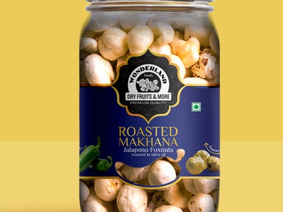 Wonderland Roasted Makhana Dry Fruits Packaging Design designerpeople packagingdesigncompany creativedesign productdesign packagingdesign