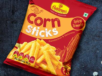 Haldirams Nagpur Delicious Corn Sticks Packaging by DesignerPeople