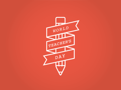 World Teacher Day orange graphics design world teacher day