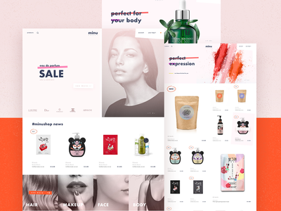 Beauty store beauty cosmetics page webdesign woman web design sketch shop ecommerce