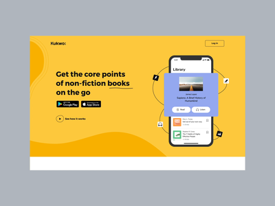 Kukwo Landing Page reader reading app web mobile app read books banner landing design ux animation 2d website interaction ui illustrations motion animation