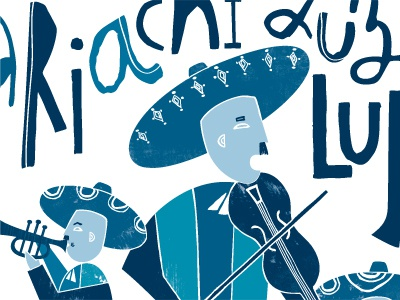 Mariachi Luz de Luna illustration mariachi blue handdrawn