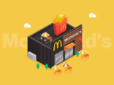 McDonald's fast food restaurant isometric illustration mcdonalds