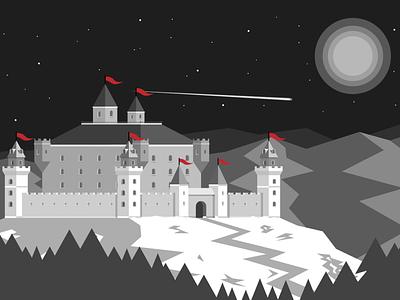 Snowcastle mountains stars sky moon white snow night castle building vectorart landscape illustrator art vector illustrator illustration adobe