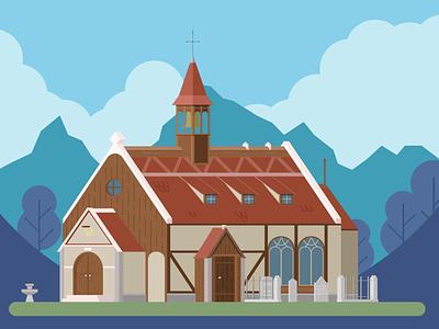 Anno 1404 - Chapel chapel clouds mountain sky anno 1404 1404 anno building vectorart landscape illustrator art illustrator illustration adobe vector