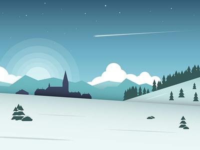 Snowy Season blue landscape winter vector illustration