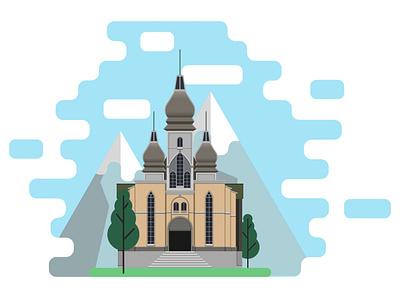 Anno 1800: Church church vectorart illustrator art illustrator building anno 1800 anno adobe landscape vector illustration