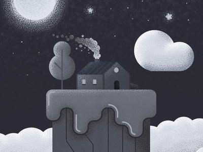 Island in the sky tree house clouds stars night sky vectorart landscape illustrator art vector illustration illustrator adobe