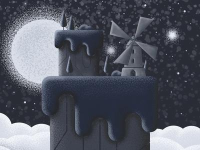 Star Mill moon mill star clouds blue building landscape vectorart vector illustrator art illustration illustrator adobe