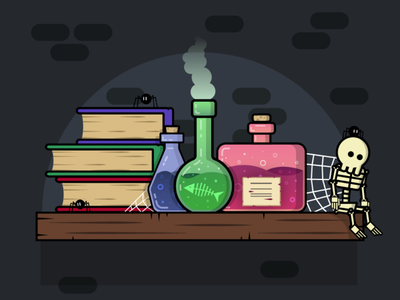 Laboratory at midnight adobe illustrator halloween
