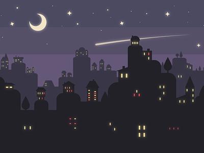 City in the night landscape vector illustrator adobe