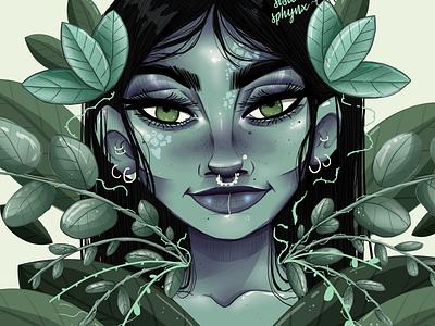 Mint kiss illustration art design cartoon art plants girl digitalpainting digital art digital illustration digitaldrawing illustration