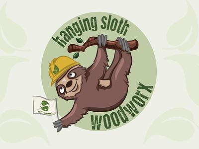 hanging sloth woodworx logo design graphic design digital art digital illustration vector branding logo design illustration
