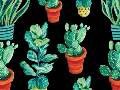 Watercolor pot plants drawing art plants painting watercolor illustration