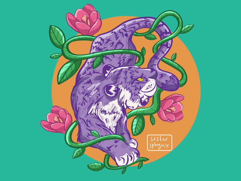 tiger blossom flowers tiger digital art art illustrator digital illustration digitaldrawing illustration