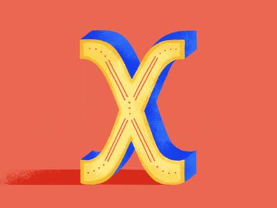 36DOT: X lettering challenge lettering dribble digital illustration 36daysoftype07 2020