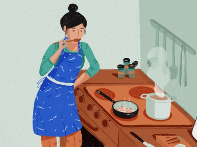 Daily new routines: creative cooking on quarantine days dribbblers quarantine cooking digital painting digital illustration colors palette dribble illustration