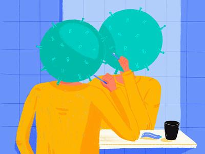 Who is the virus? 2020 colors palette dribbblers mirror procreate art procreate digital illustration digital painting humans coronavirus illustration