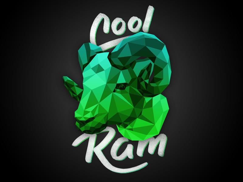 Cool Ram photoshop illustrator neon poly low lettering ram