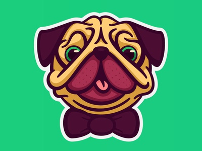 Pug Face vector animal logo dog