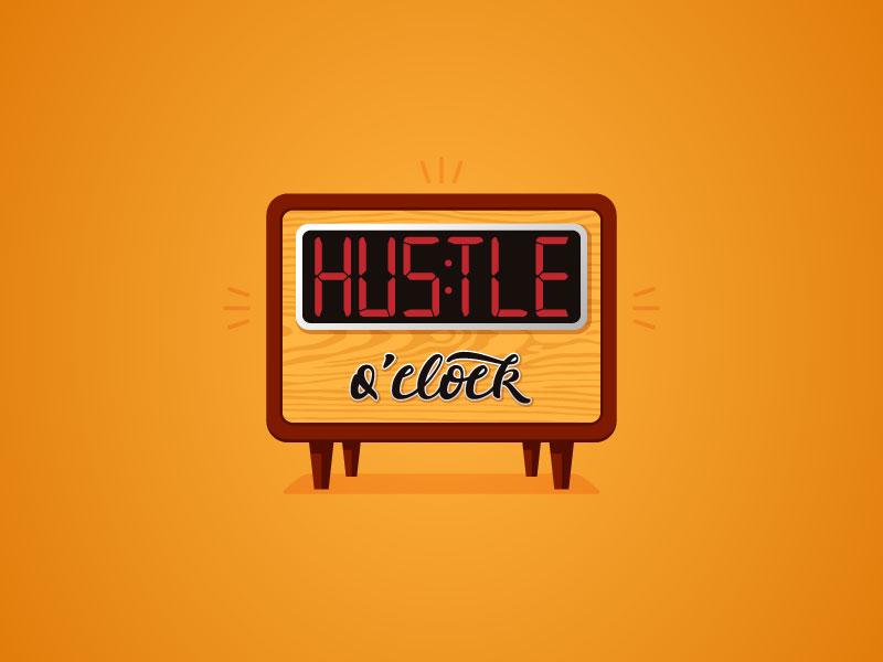 Hustle O Clock lettering illustrator vector retro clock hustle
