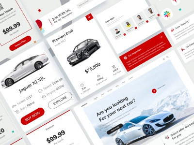 UI Elements - Auto shop app design shopping app car app shop interaction design automobile uidesing user experience user interface automotive car components web uiux service card ui uielements