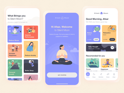 Silent Moon: Meditation App SneakPeek deshboard ecommerce minimal website flat animation web app typhography icon ux branding vector ui illustration design logo landing page meditation